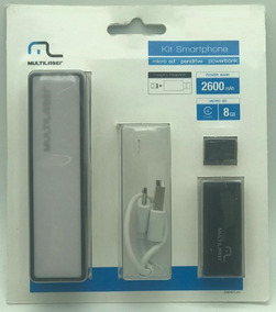 Kit Power Bank + Cartão Micro 8gb +leitor Mc200 Multilaser