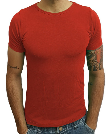 Camiseta Básica Slim Gola Redonda Viscose Com Elastano