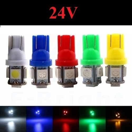 Kit 10 Lampada T10 5 Led 24v Branca Azul Amarela Verde Vermelha Atacado