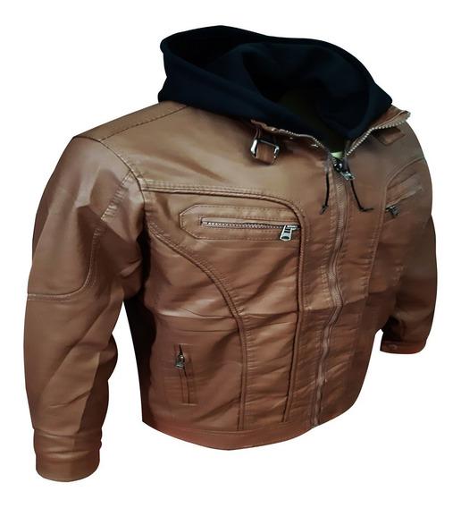 Jaqueta De Couro Masculina Preta Marrom Motoqueiro Com Capuz