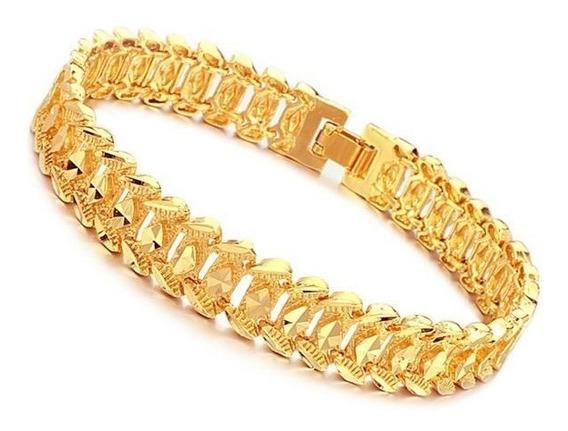 Pulseira Masculina Banhada Em Ouro Amarelo Dourada Elegante