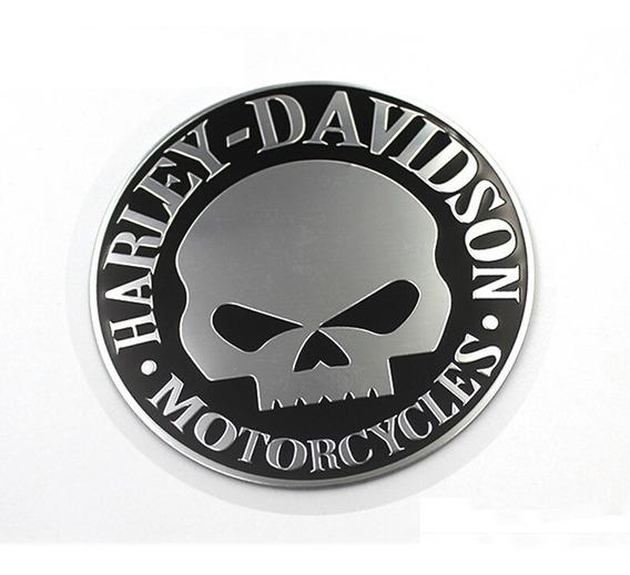 Adesivo 3d Emblema Harley Davidson Caveira Metal