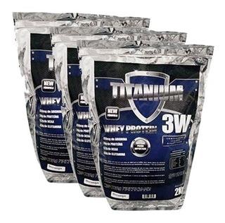 Kit 3 Pacotes Whey Protein 3w Titanium - 6 Kilos - Morango