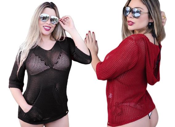Blusinha Praia Rendada Tricot Verão Capuz Bolsos- Exclusivo