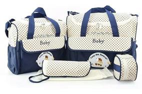 Kit Bolsa Saida Maternidade Super Luxo 5 Pcs Menino E Menina