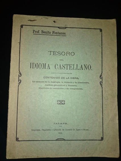 Benito Fentanes Tesoro Del Idioma Castellano Libro Antiguo