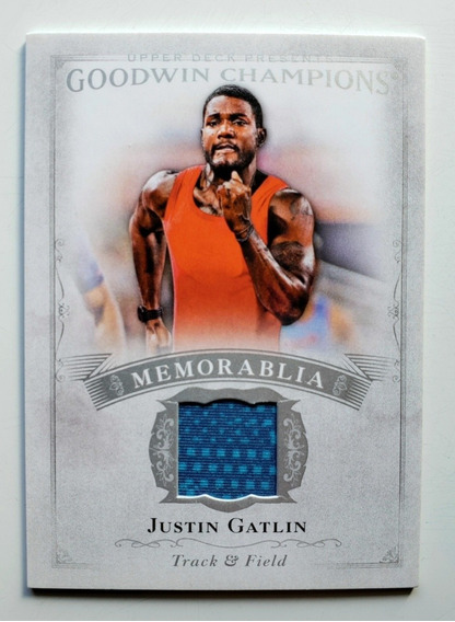 Card Justin Gatlin Olimpíadas Atletismo Pedaço De Camisa
