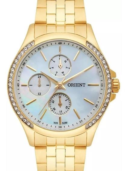 Relógio Orient Feminino Dourado Com Cristais Fgssm051 B1kx