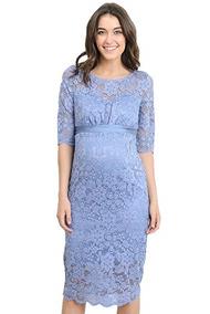 53456977b Vestido Maternidad Encaje Floral Color Azul Marca Hello Miz
