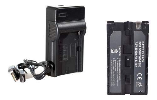 Imagen 1 de 8 de Cargador Usb + Batería Np-f550 T/ Sony P/ Iluminador Led