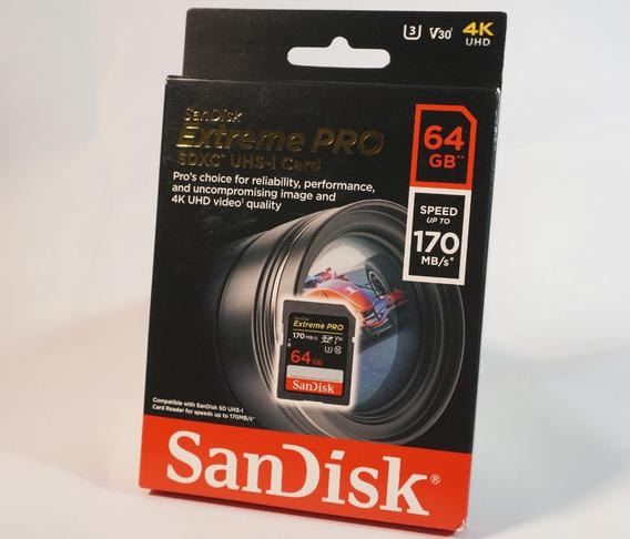 Cartão Sd Sandisk Extreme Pro 64gb 170mbs - Original Lacrado