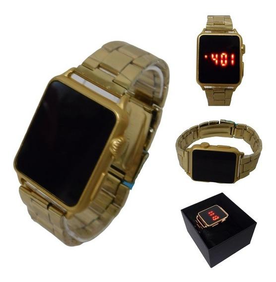 Relógio Led Digital Touch Pulseira De Aço Dourado Unissex