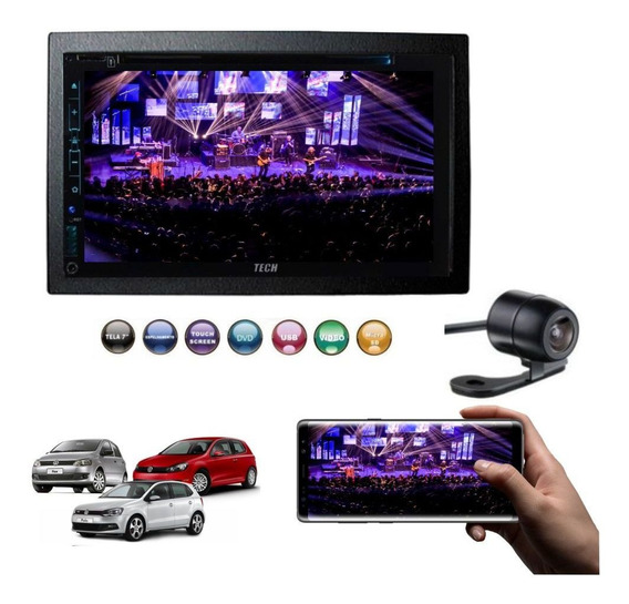 Dvd Automotivo Bluetooth + Moldura 2 Din Fox Polo Golf + Cam