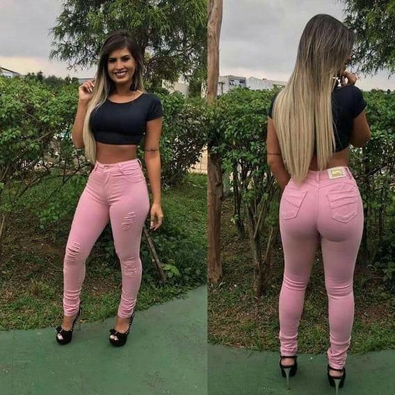 Calça Jeans Feminina Flare E Skinny Cós Alto Com Lycra