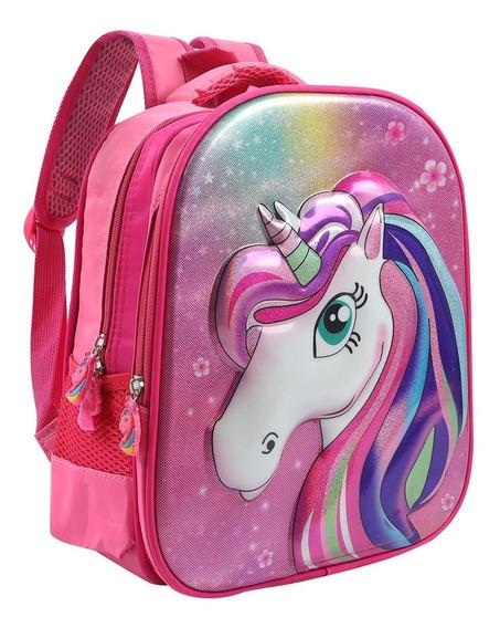 Mochila Nena Jardín Escolar Unicornio Love Espalda Princesa