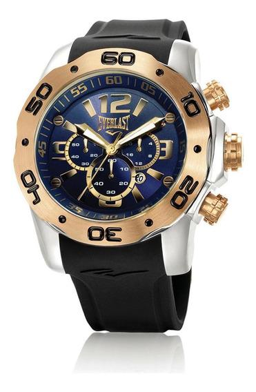 Relógio Pulso Everlast Masculino Cronografo Aço Preto E556