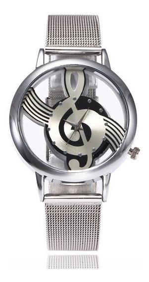 Reloj De Metal En Forma De Nota De Musica Moda Para Hombre