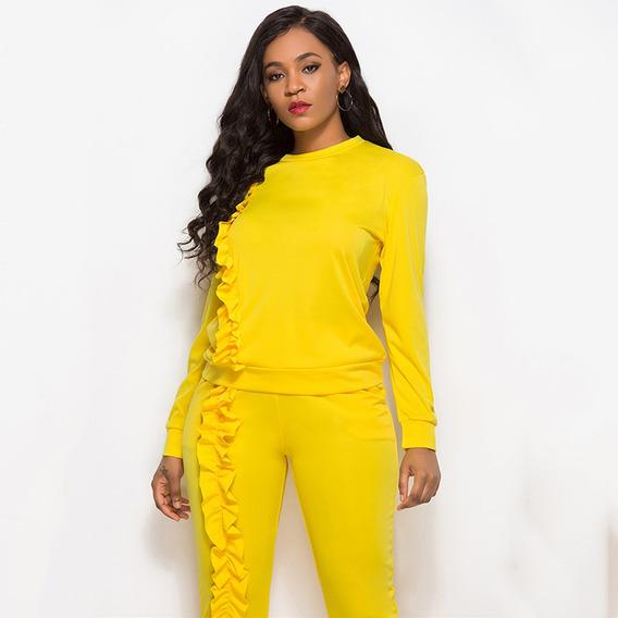 Moda Mujer Color Slido Conjunto De Dos Piezas O-cuello De