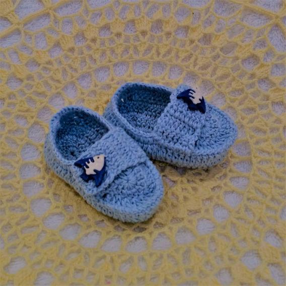 Sapatinho Em Crochê Azul Tamanho P