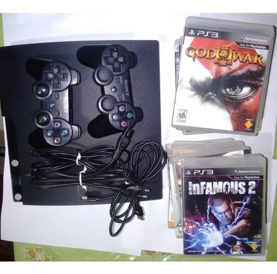 Playstation 3 Slim 2 Controles + Jogos