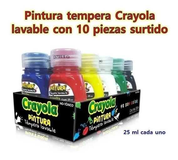 Pintura Tempera Lavable Crayola Carteles Paquete 10 Colores