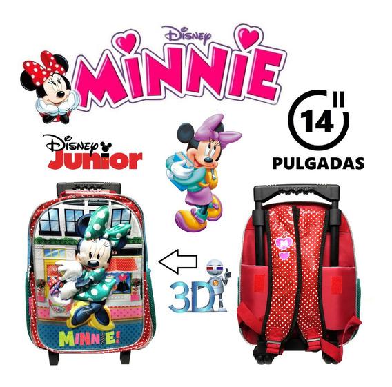 Mochila Minnie Disney Junior 14 Pulgadas 3 D Jardín Primaria