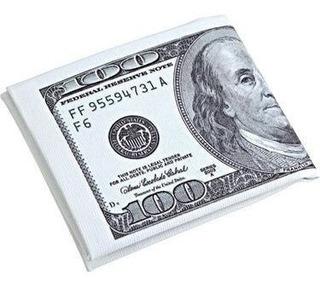Carteira 100 Dolares Guardar Notas Cédulas Dinheiro