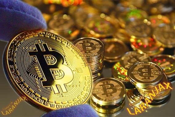 Bitcoin - Moeda Física Em Metal Dourado Ouro. Pesada, Linda