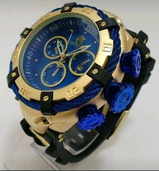 Relógio Masculino Dourado Grande Pesado Com Caixa