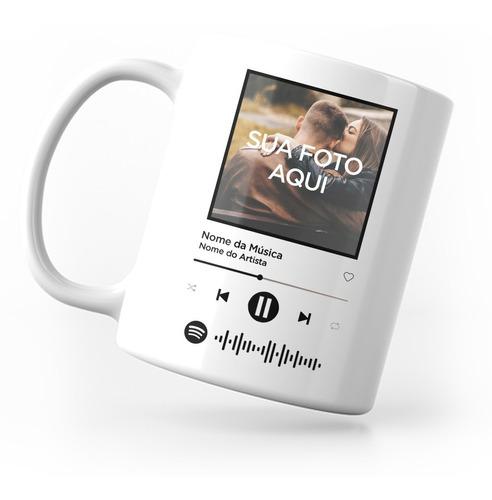 Imagem 1 de 3 de Caneca Spotify Interativa Com Música E Foto Personalizada