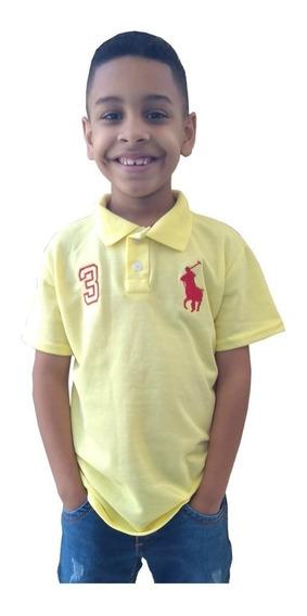 Kit 5 Camisa Infantil Gola Polo Masculina Camiseta Menino