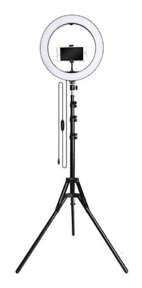 Ring Light Iluminador Led Celular 26 Cm Tripé Live Foto Pro