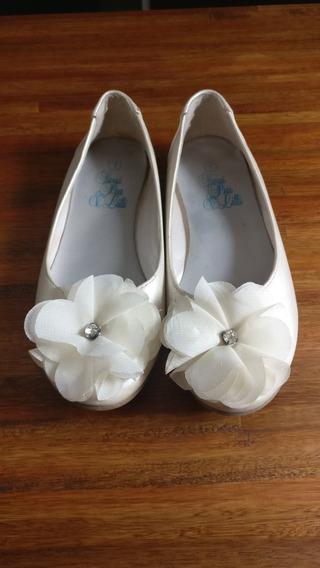 Zapatos De Nena Beige Perlado - Chatitas - Poco Uso