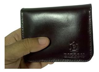 Porta Cartões Cédulas Moedas 2 Bolsos Secretos De Couro