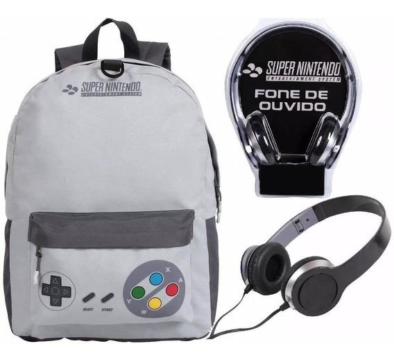 Mochila Escolar Super Nintendo Com Fone Original - Dmw