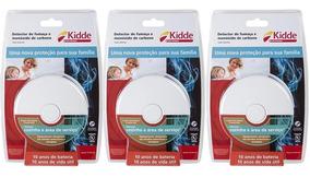 Kit 3 Detector Fumaça E Monóxido Carbono Cozinha Área Kidde