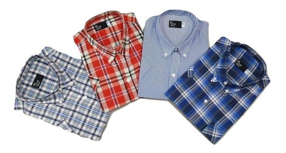 3 Camisas Talle Especial Manga Corta Hombre -46-48-50-52