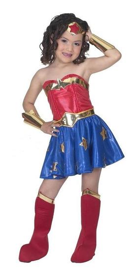 Disfraz De Mujer Maravilla Para Niña Superheroes Envio Grati
