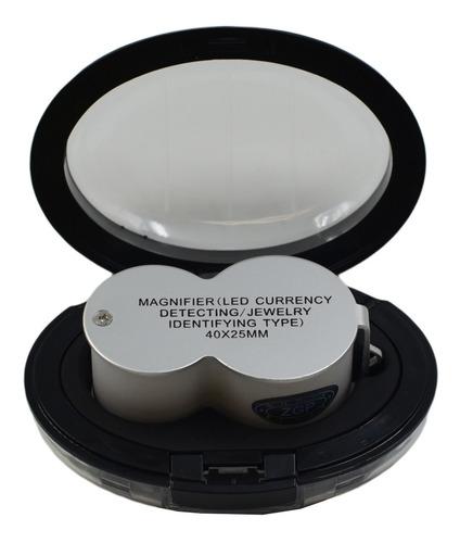 Imagem 1 de 9 de Lupa Bolso Profissional 40x Com Led Uv Ourives Relojoeiro
