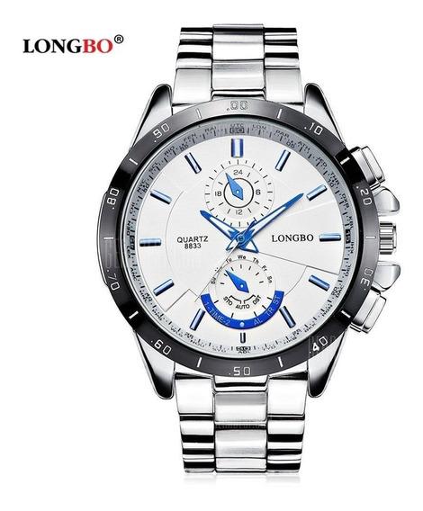 Relógio Masculino Longbo 8833 White Inox À Prova D