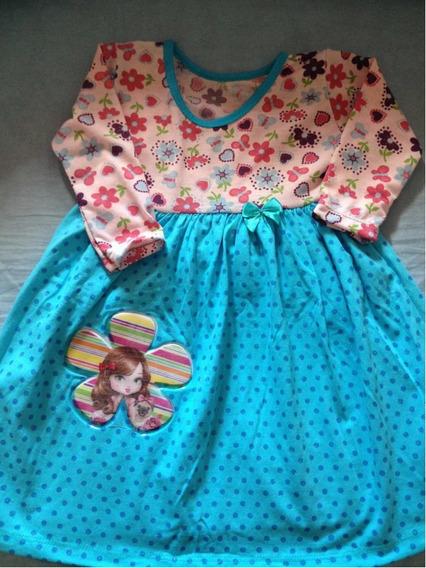Vestido Camisola Malha Bebê Criança Manga Longa Jolie 3