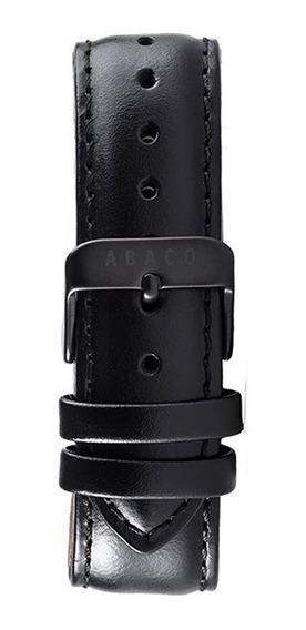 Correa Reloj Abaco 20mm Cuero Negro Hebilla Negra Malla