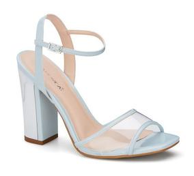Zapatillas Sandalias Andrea Azules Transparentes Y Plateado