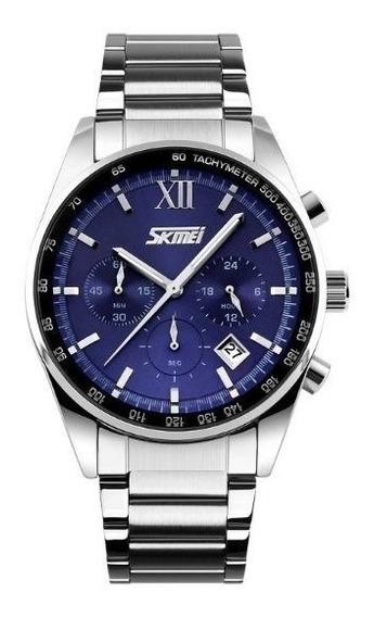 Relógio Masculino Skmei Analogico 9096 - Prata E Azul