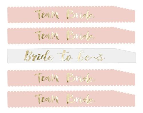 5 Bandas Blanco Rosa Bride To Be Team Bride Futura Novia