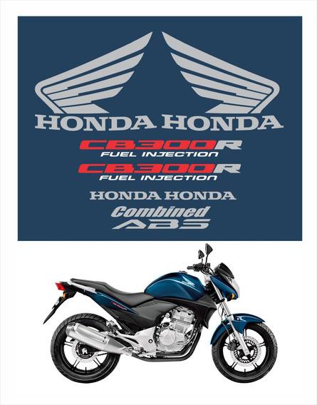 Kit Adesivo Emblema Faixa Cb300r 2010 À 2012 Azul