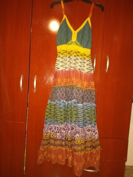 Vestido Largo Boho Multicolor Importado De India Tm Impec!