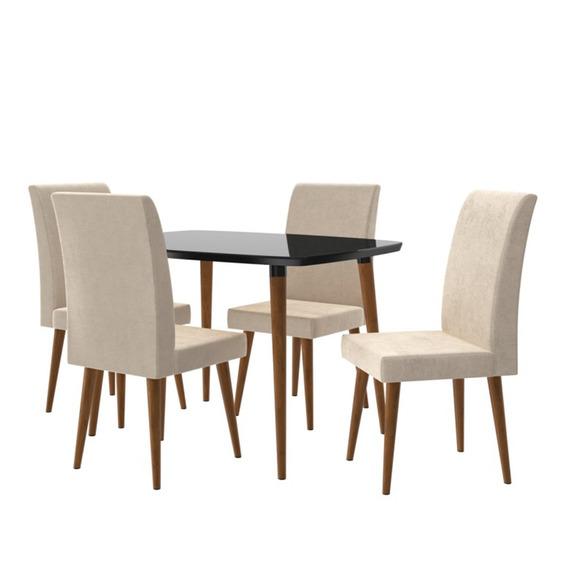 Conjunto Mesa Jade 1,20 Com 4 Cadeiras - Black/suede Bege