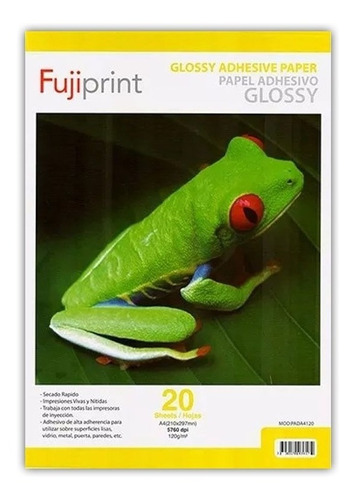 Papel Fotografico Adhesivo Glossy 120gr Gramos 20 Hojas