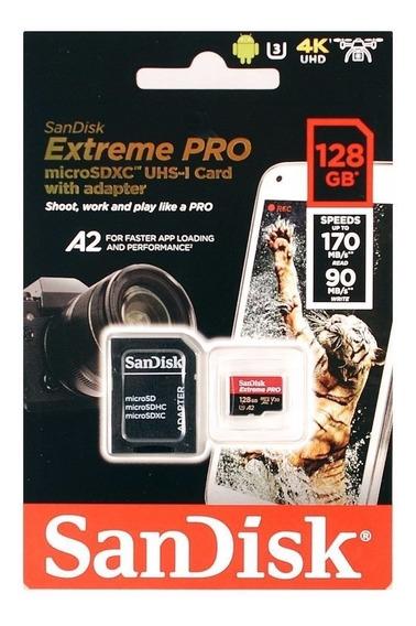 Cartão Memória 128gb Micro Sd Extreme Pro 170mbs V30 Sandisk